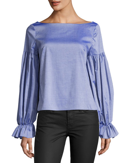 Milly Linda Long-Sleeve Cross-Dyed Italian Shirting Top