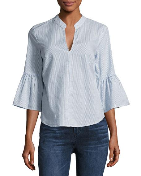 Striped Cotton Bell-Sleeve Shirt
