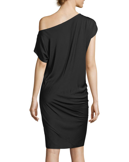 Julena One-Shoulder Silk Crepe Dress