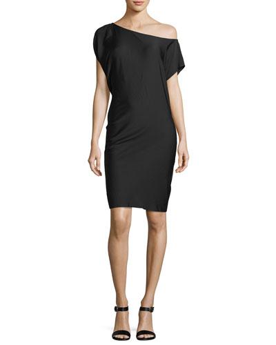 Julena One-Shoulder Silk Crepe Dress