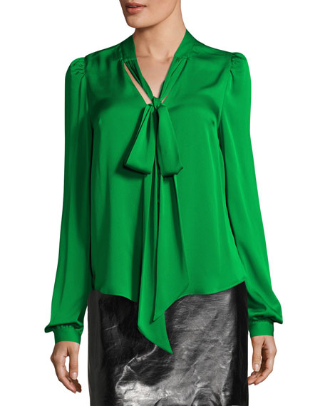 Milly Long-Sleeve Tie-Neck Stretch-Silk Blouse and Matching Items
