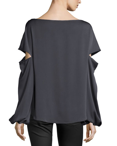 Dahlia Split Bishop-Sleeve Stretch-Silk Top