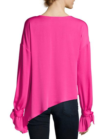 Nicolina Tie-Sleeve Asymmetric Stretch-Silk Top