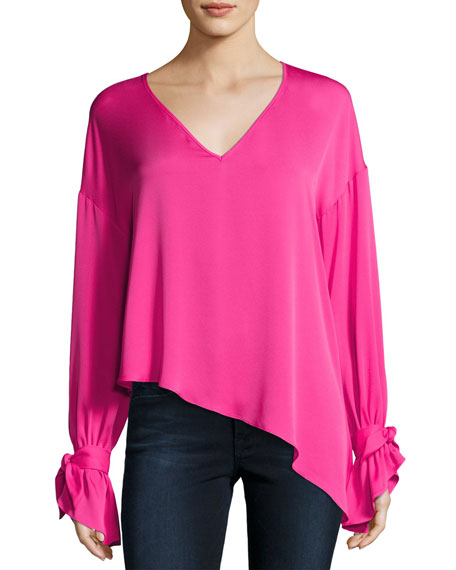 Milly Nicolina Tie-Sleeve Asymmetric Stretch-Silk Top