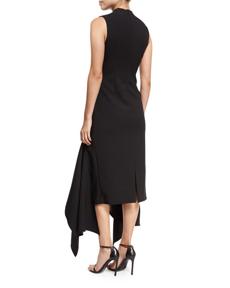 Klara High-Neck Sleeveless Crepe Dress w/ Asymmetric Hem