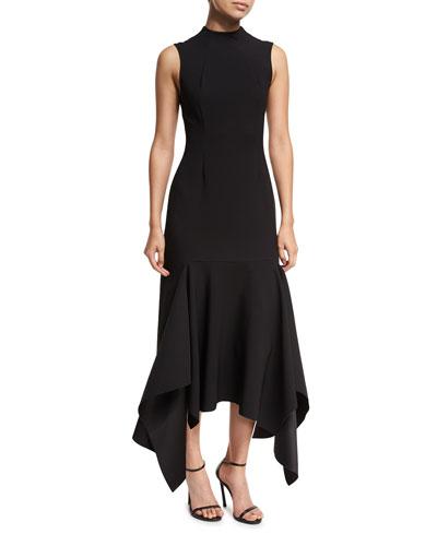 Klara High-Neck Sleeveless Crepe Dress w/ Asymmetric Hem