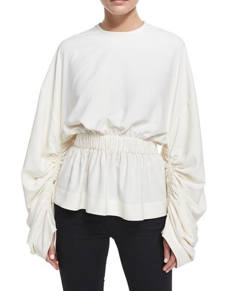 Solace London Macy Gathered Long-Sleeve Top, Cream