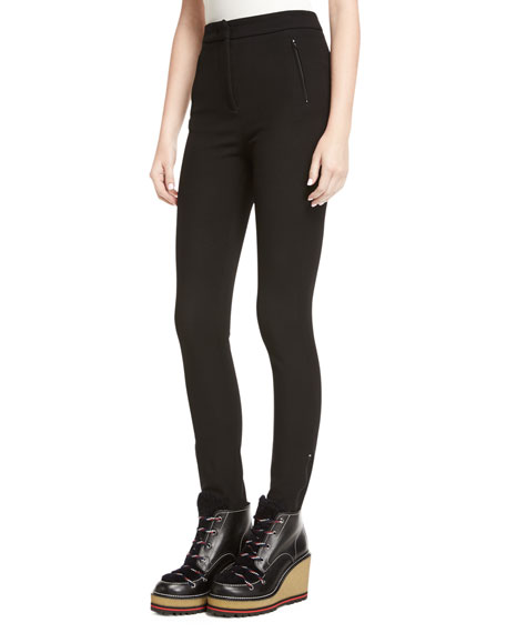Side-Zip Skinny Stretch Pants, Black