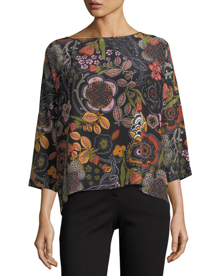 M Missoni 3/4-Sleeve Floral Silk Top