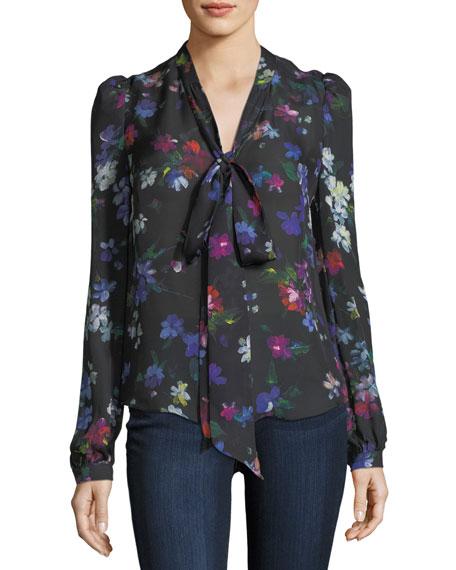 Tie-Neck Painted Floral Georgette Silk Blouse