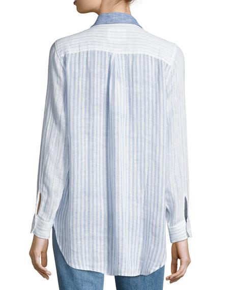Charli Trio Stripe Linen Top, Blue Pattern