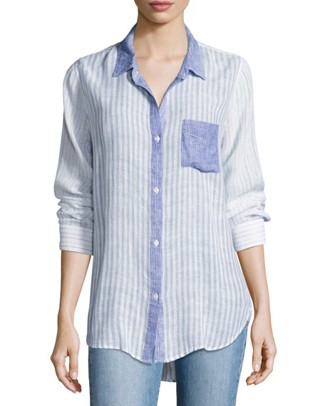 Rails Charli Trio Stripe Linen Top, Blue Pattern