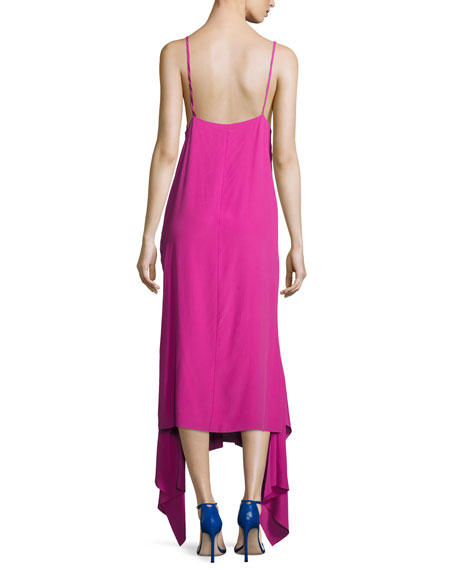 Wyatt Handkerchief Hem Slip Dress, Pink
