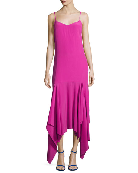 Solace London Wyatt Handkerchief Hem Slip Dress, Pink