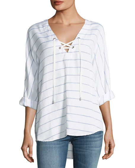 Lily Striped Long-Sleeve Linen-Blend Top
