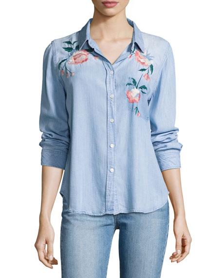 Rails Chandler Floral Embroidered Denim Shirt, Blue