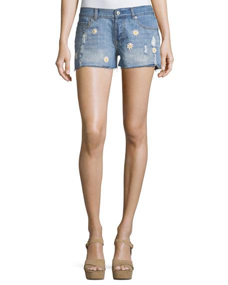 Jesse Denim Shorts w/ Floral Trim