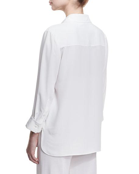 Long Button-Front Bracelet-Sleeve Blouse