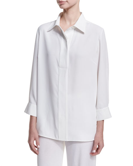 Misook Long Button-Front Bracelet-Sleeve Blouse