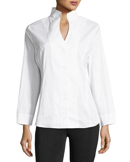 Long-Sleeve Stretch-Cotton Shirt, Petite