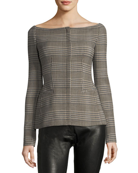 Theory Off-the-Shoulder Wool Plaid Jacket