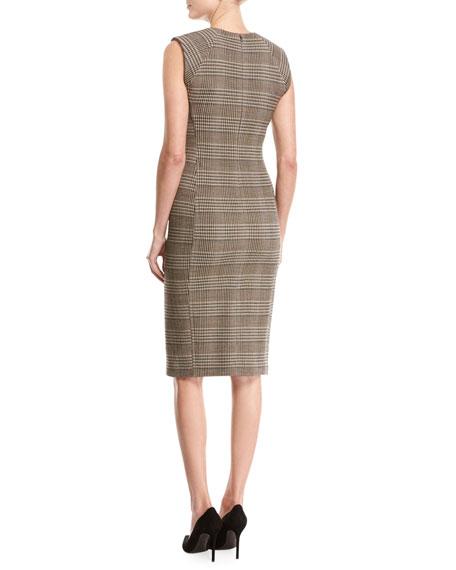 Power Plaid Sheath Dress, Beige Multi