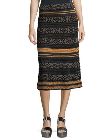 M Missoni Long Semisheer Chenille Ribbon Knit Skirt