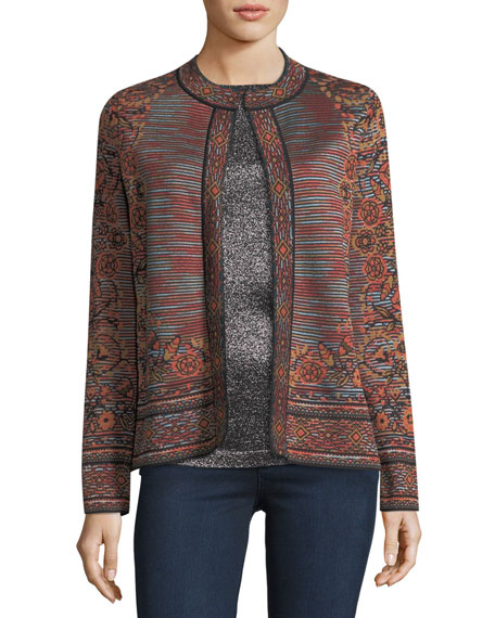 Space-Dyed Floral Jacquard Cardigan