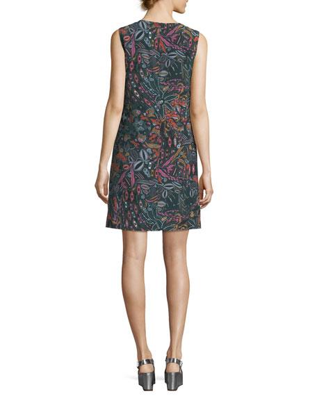 Sleeveless Floral Forest-Print Silk Dress