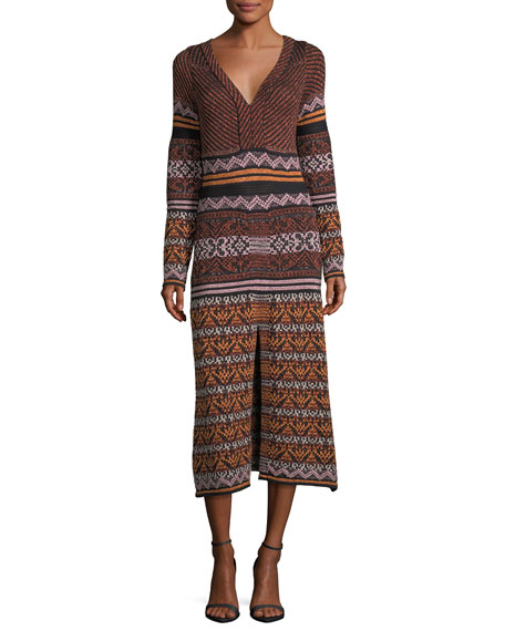 Long-Sleeve V-Neck Metallic Ribbon Knit Dress w/ Center Slit