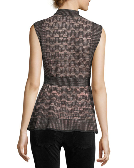 Sleeveless Lurex® Greek Key Knit Peplum Top