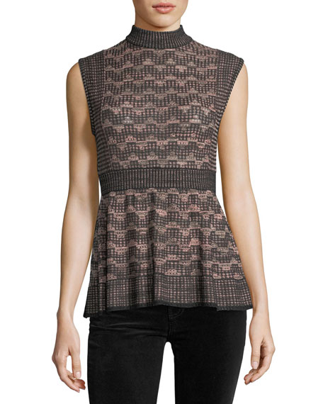 M Missoni Sleeveless Lurex® Greek Key Knit Peplum