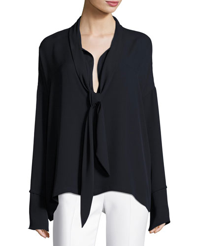 Classic Georgette Scarf Shirt Blouse, Black