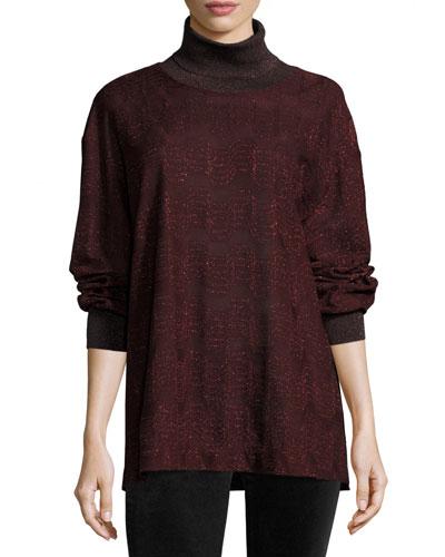 Metallic Jersey Turtleneck Sweater