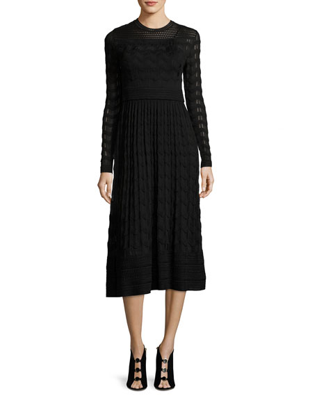 M Missoni Long-Sleeve Jewel-Neck Midi Dress
