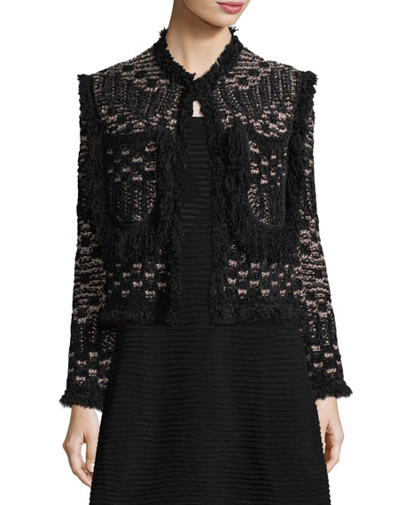 M Missoni Metallic Fringe-Trim Tweed Jacket