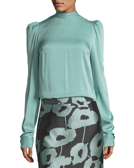 Milly Kitty Tie-Neck Stretch-Silk Blouse