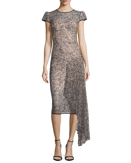 Milly Margaret Short-Sleeve Corded Lace Cocktail Dress