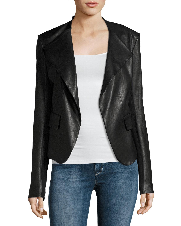 Bagatelle leather stand collar biker jacket black