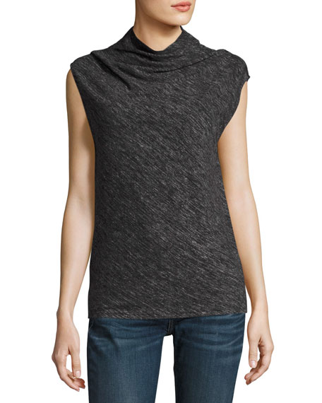 Cowl Shell Woodsen Sleeveless Top, Black