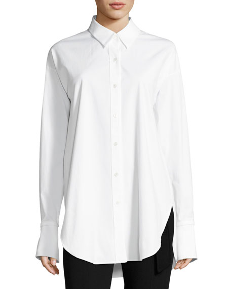 Theory Poplin Long-Sleeve Boy Tunic, White and Matching
