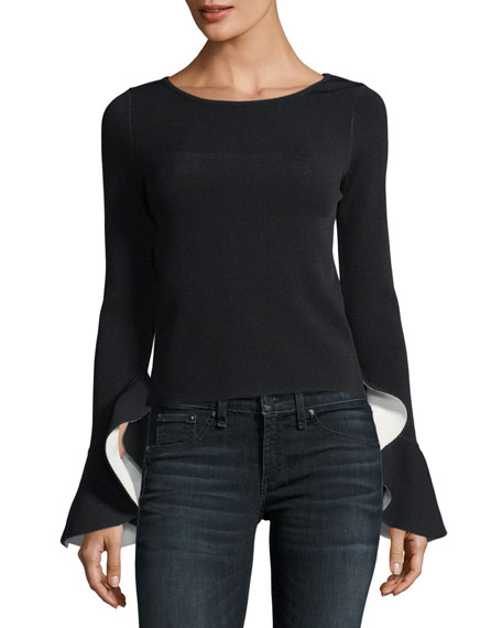 Milly Contrast Draped Ruffle-Sleeve Pullover