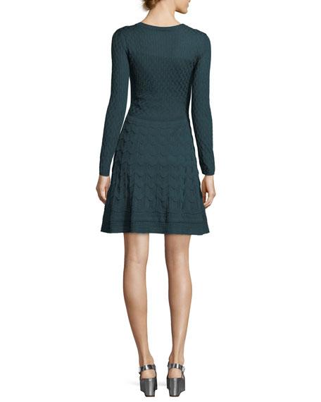 Long-Sleeve V-Neck Solid Lace Plisse Dress