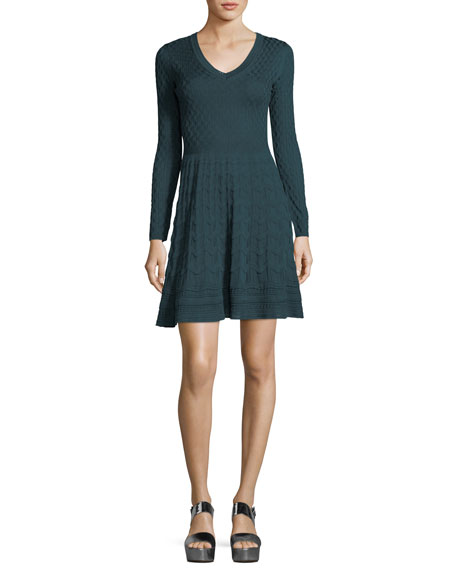 M Missoni Long-Sleeve V-Neck Solid Lace Plisse Dress