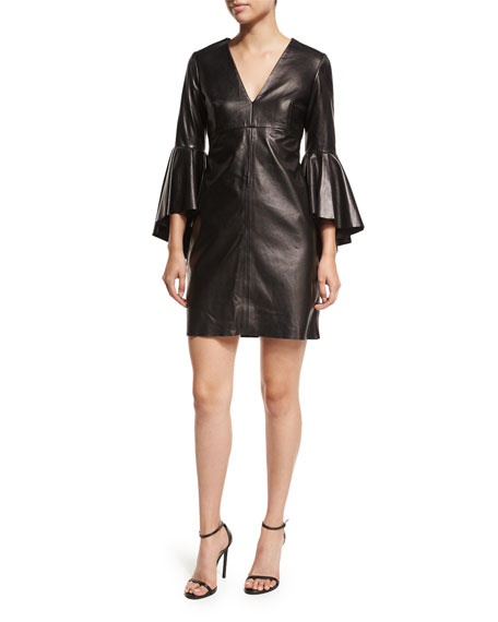 Milly Nicole Bell-Sleeve Lightweight Leather Mini Cocktail Dress