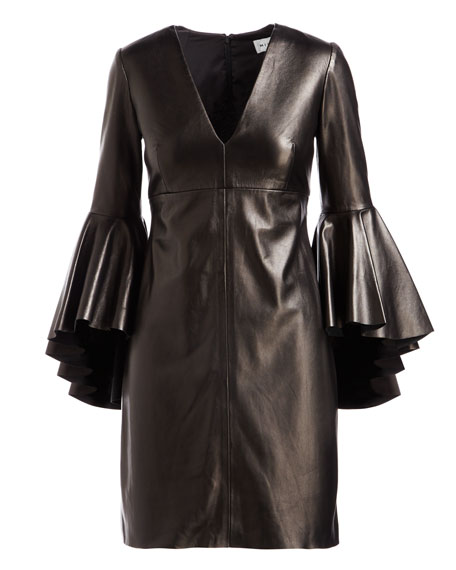 Nicole Bell-Sleeve Lightweight Leather Mini Cocktail Dress