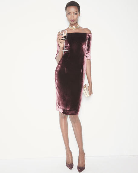 Slim Off-the-Shoulder Panne Velvet Cocktail Dress