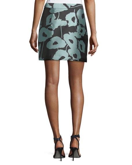Poppy Floral Twill Modern Miniskirt