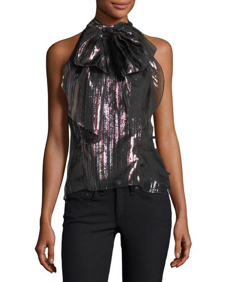 Milly Gwyneth Lurex®-Striped Organza Blouse