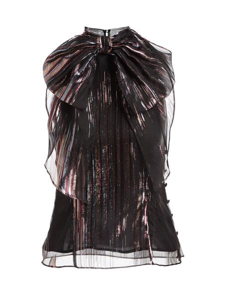 Gwyneth Lurex®-Striped Organza Blouse